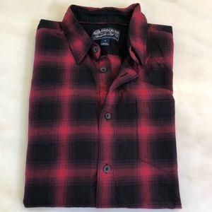 American Rag Short Sleeve Shirt Black Red Plaid